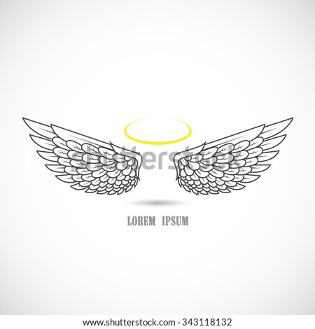Icon with angel wings. - stock vector