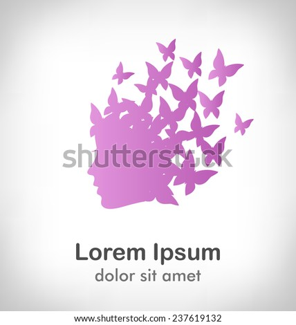 Icon with beauty woman profile with butterflies on grayscale background - stock vector