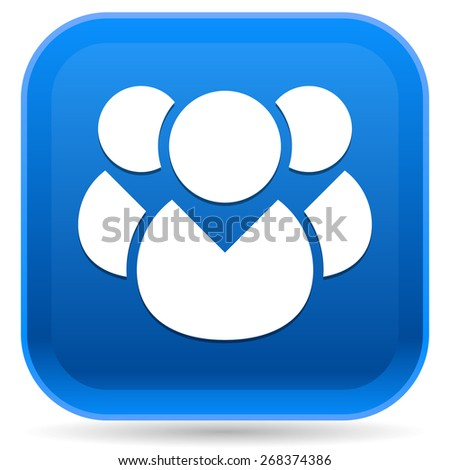 Icon with Character Symbol. Icon with Group of 3 People for Gathering, Chat, Forum, Management or Membership Concepts - stock vector