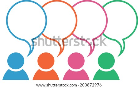 Icon with group in different colors with blank overlapping speech bubbles  - stock vector