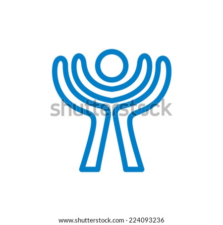 Icon with hands forming wings to hold and protect a child - stock vector
