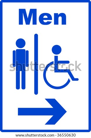 Icon with man and handicap or wheelchair person symbol, vector