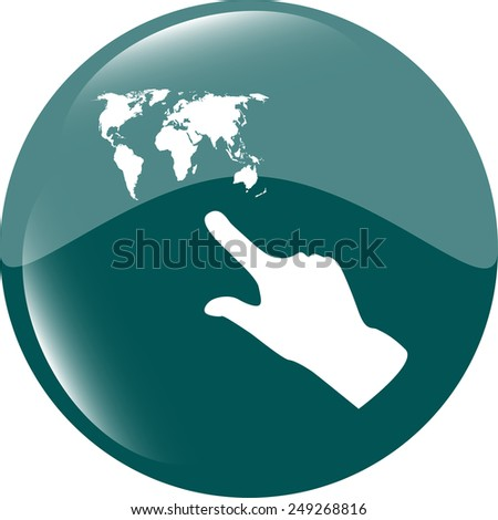 icon with people hand and world map sign. Arrows symbol. Icon for App. Web button - stock vector