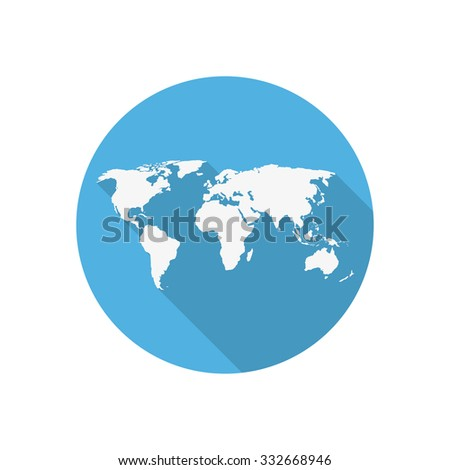 Icon  world map on a blue circle in a flat design - stock vector