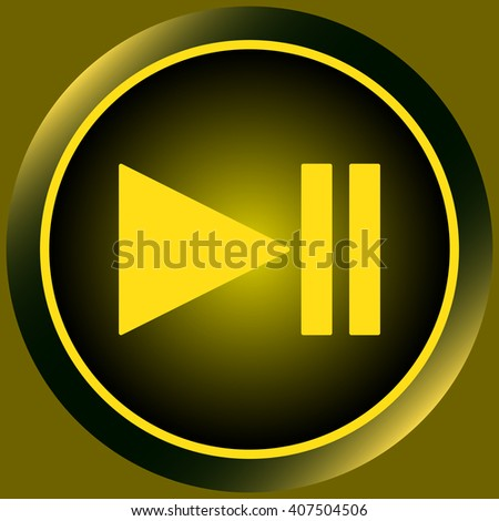 Icon yellow pause symbol - stock vector