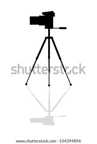 Icon Zoom digital camera on a tripod - stock vector