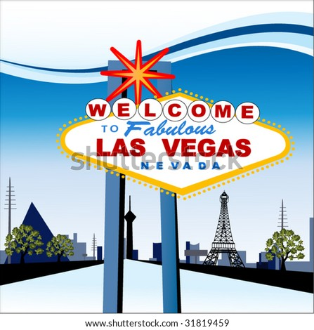 "Iconic Las Vegas sign with ""the strip"" behind - stock vector"