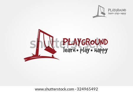 Iconic logo design of silhouette sitting on swing. - stock vector