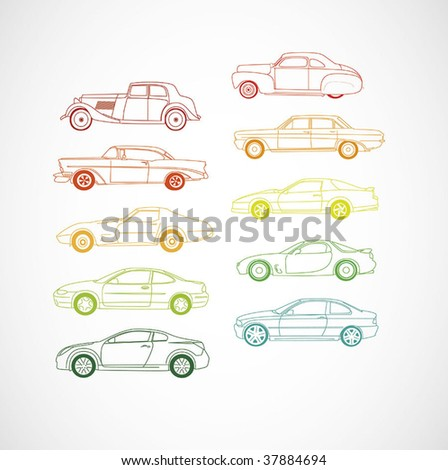 Iconic Vector Car Lines - stock vector