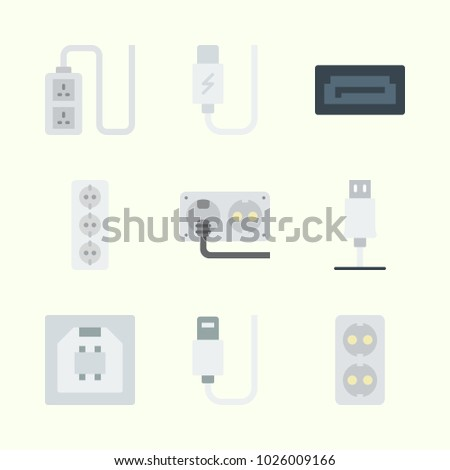 Icons about Connectors Cables with usb, socket and sata
