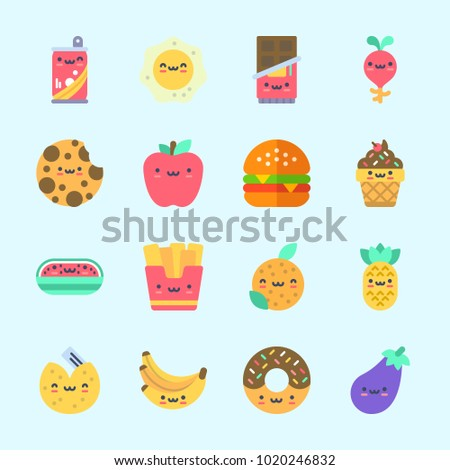 Icons about Food with fried egg, apple, hamburger, bananas, cookie and fortune cookie