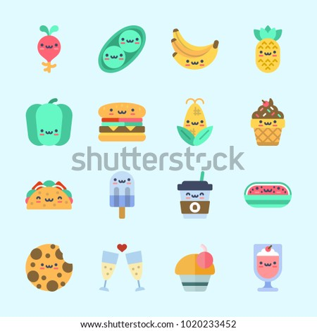 Icons about Food with milkshake, coffee cup, watermelon, toast, popsicle and pea