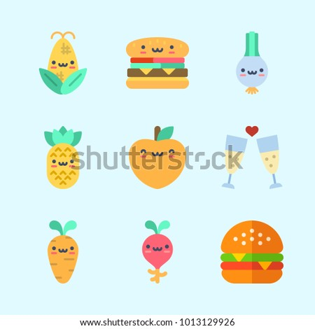 Icons about Food with pineapple, scallion, toast, hamburger, corn and peach