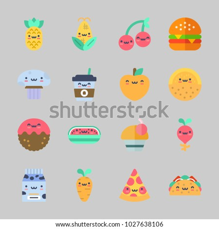 Icons about Food with taco, coffee cup, pizza, milk, radish and pineapple