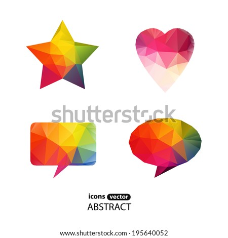 icons abstract triangle - stock vector