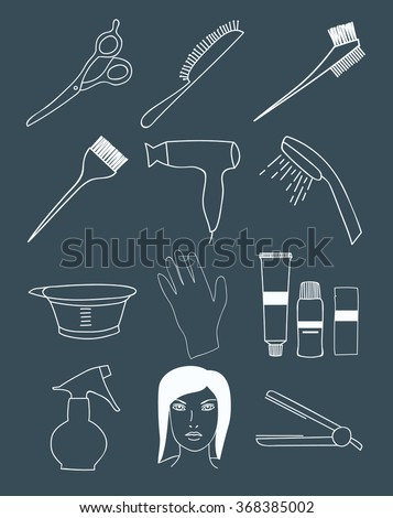 Hair Coloring Accessories Supplies Hairdressers Steps Stock Vector ...
