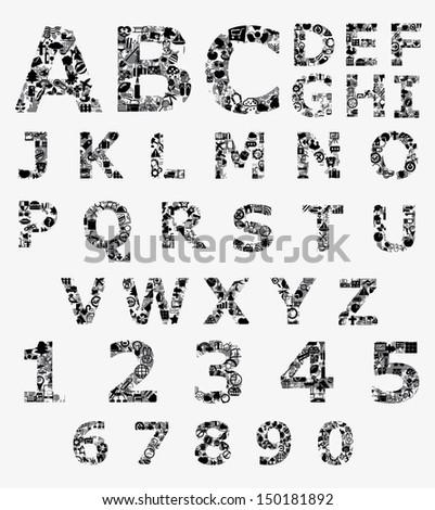 Icons Alphabet Design - stock vector