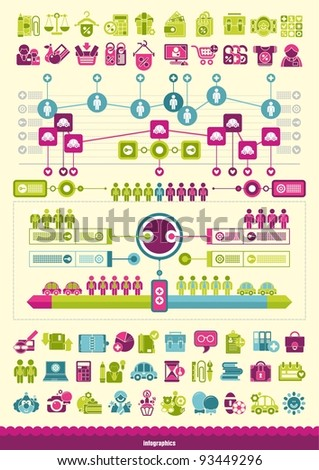 Icons and infographics - stock vector