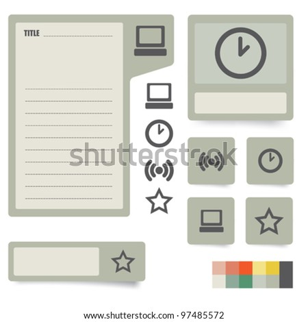 icons and paper stickers with instruments, components and features. for high quality print, web design and office work. easy color editing. - stock vector