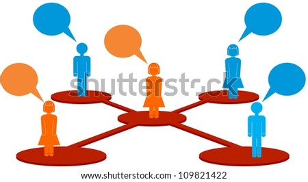 Icons and people linked in a network with voice bubbles - stock vector