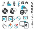 Icons, audio-video files - stock vector