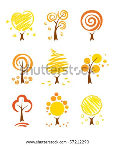 Icons - autumn trees - stock vector