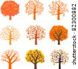 Icons autumn trees isolated on White background. Vector illustration - stock vector