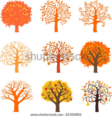 Icons autumn trees isolated on White background. Vector illustration