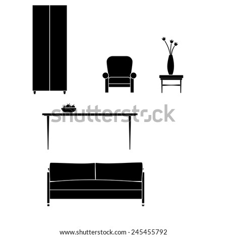 Icons black furniture. Vector. Vector. - stock vector