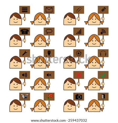 Icons Boy Girl Plate Website - stock vector