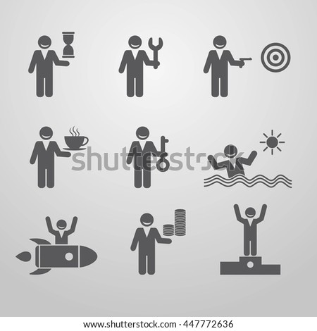 Icons businessmen. Business situation. Legend activities. Vector illustration.  Eps10.