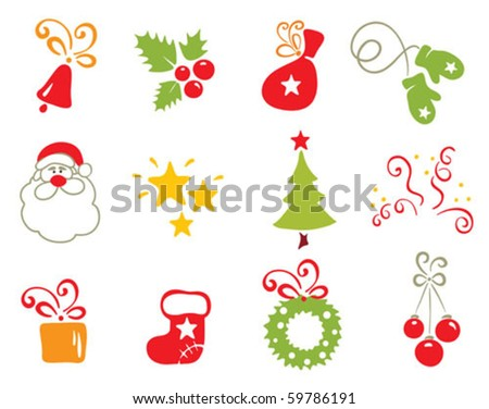 Icons - Christmas object - stock vector