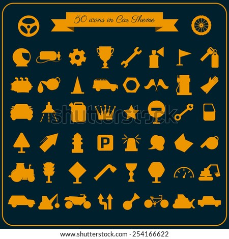 Icons collection of car related signs and symbols with various elements. Set 50 silhouettes isolated on background.Vector illustration. - stock vector