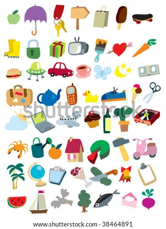 icons colorful - stock vector