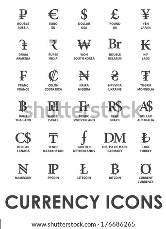 Icons Currencies World On White Background Stock Vector 176686265