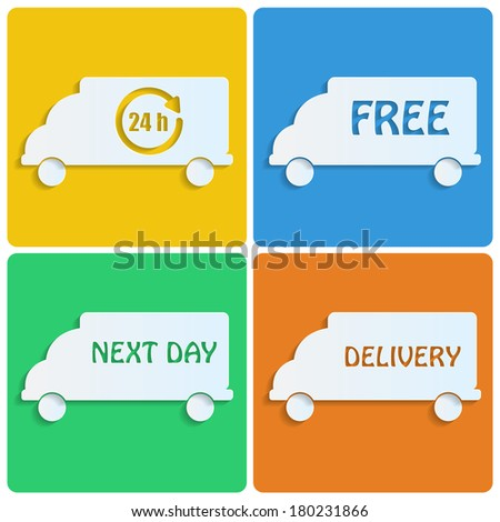icons delivery.white cars out of paper on colorful background.transport.Icons for the shop.vector
