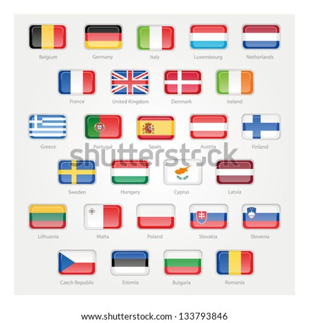 icons depicting the flags of the EU countries - stock vector