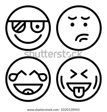 Icons Emoticons Vector Angry Laughing Pirate Stock Vector 1020128965