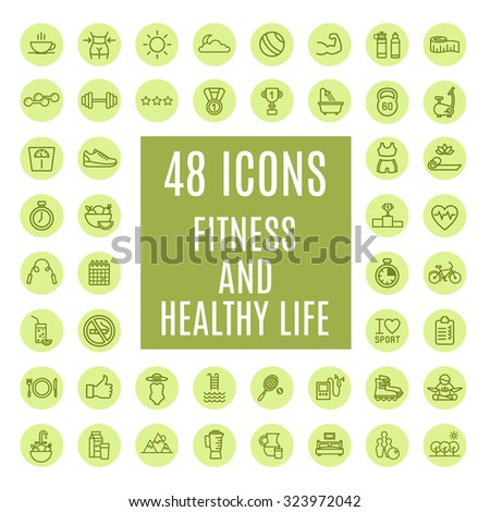 Icons fitness and health life