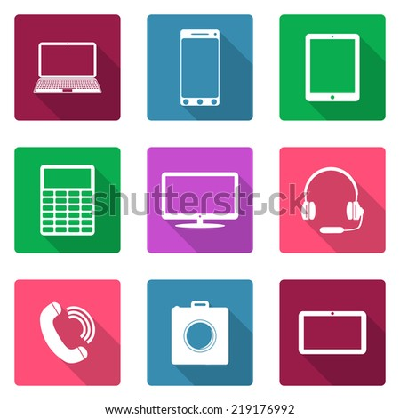 Icons flat design. Electronic devices - stock vector