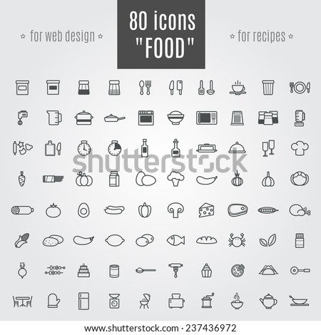 icons Food and equipment - stock vector