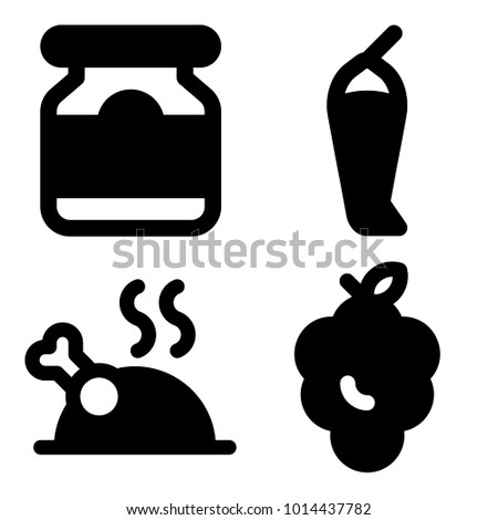 Icons Food Vector Grape Pickles Chicken Stock Vector 1014437782