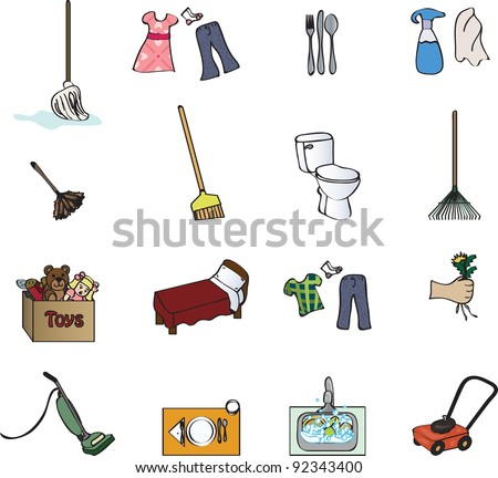 icons for a chore chart - stock vector