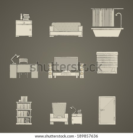 Icons for apartment. Set of gray icons for apartment on dark gray. - stock vector