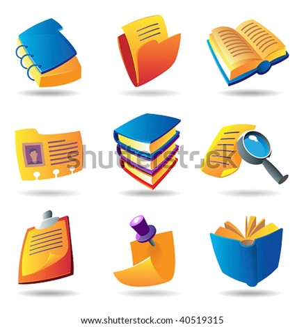 Icons for books and papers. Vector illustration. - stock vector