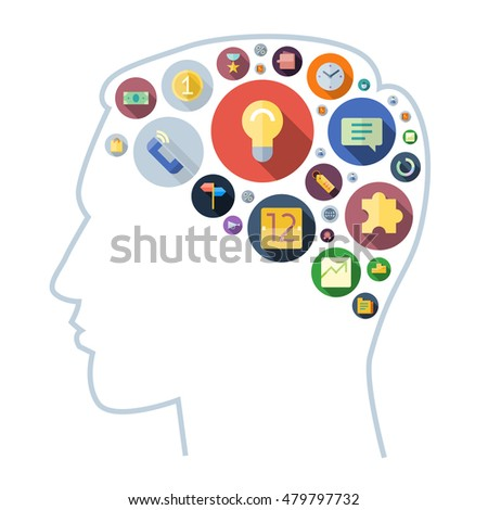 Icons for business arranged in human brain shape. Vector illustration.