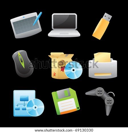Icons for computer. Vector illustration.