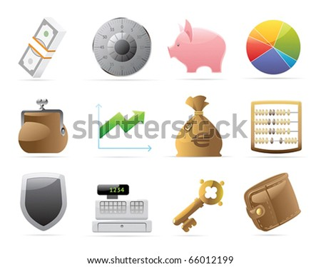 Icons for finance, money and security. Vector illustration. - stock vector