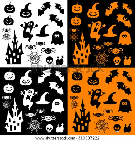 Icons for Halloween. Pumpkins, Haunted House, and ghosts. - stock vector