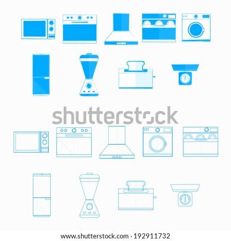 Icons for household equipment. Blue monochrome and contour icons for household equipment on white. - stock vector